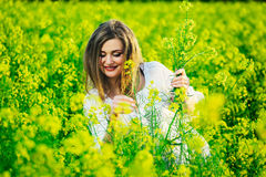 Young woman in white dress collects in the field yellow flowers. Royalty Free Stock Image