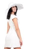 Young woman in white dress and hat Royalty Free Stock Photography