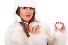 Young woman in white fur Royalty Free Stock Images