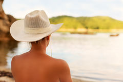 Young woman in a white hat. Royalty Free Stock Images