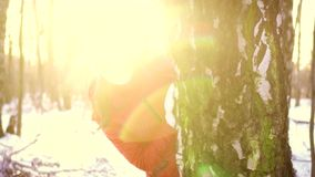 Woman enjoying winter day outdoors. Happy girl hiding behind big tree in winter park in slow motion. Young woman in white hat with red pompon enjoying winter day stock video footage