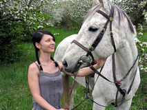 Young woman  with white horse in the spring garden Stock Image