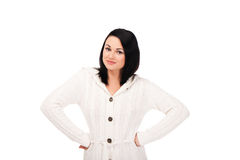 Young woman in white knitted dressing gown Stock Image