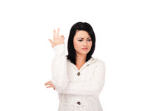 Young woman in white knitted dressing gown Stock Photo