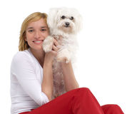 Young woman with White Maltese Stock Images