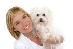 Young woman with White Maltese Royalty Free Stock Image