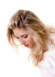 Young woman in a white man's shirt Royalty Free Stock Photo