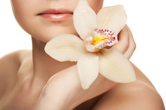 Young woman with white  orchid Stock Photography