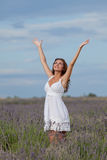 Young woman in white outdoors Royalty Free Stock Photo