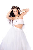 Young woman in white outfit isolated Stock Image