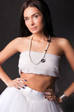 Young woman in white outfit isolated Royalty Free Stock Photo