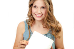 Young woman with white paper Royalty Free Stock Photo