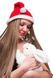 Young woman with white rabbit Royalty Free Stock Images