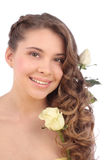 Young woman with white rose. On white royalty free stock image