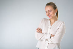 Young woman in white shirt Royalty Free Stock Photo