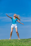 The young woman in white shorts Royalty Free Stock Image