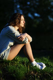 Young woman in white socks Royalty Free Stock Photo