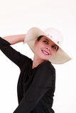 Young woman with white summer hat Royalty Free Stock Image