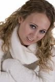 Young Woman in white Sweater Royalty Free Stock Photography