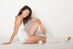 Young woman in white underwear Royalty Free Stock Images