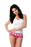 Young woman in white underwear Stock Photo