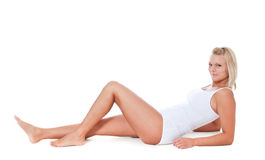Young woman in white underwear Stock Image