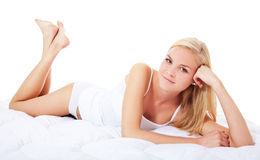 Young woman in white underwear royalty free stock photo