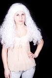 Young woman in a white wig Royalty Free Stock Images