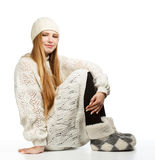 Young woman in white winter clothing Royalty Free Stock Photo