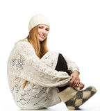 Young woman in white winter clothing Stock Images