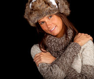 Young woman in white winter hat Stock Images