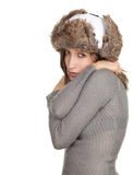 Young woman in white winter hat Royalty Free Stock Images