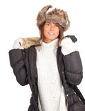 Young woman in white winter hat and coat Stock Photography