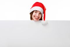 Young woman with whiteboard on Christmas Stock Images