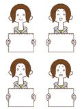 A young woman with a whiteboard Hoodie Short Bob royalty free illustration