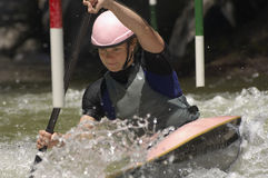 Young Woman Whitewater Kayaking Stock Photography