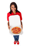Young Woman With A Whole Pizza Royalty Free Stock Photo