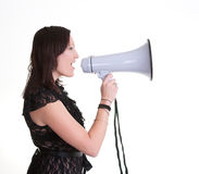 Young woman wiht megaphone or bullhorn Stock Photo