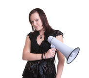 Young woman wiht megaphone or bullhorn Stock Photography