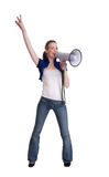 Young woman wiht megaphone or bullhorn Stock Images