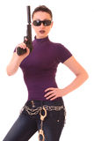 Young woman win gun Stock Photo