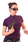 Young woman win gun isolated Stock Images