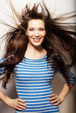 Young  woman with wind in hair Royalty Free Stock Photography