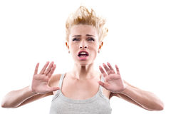 Young woman with windblown mouth Stock Photography
