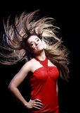 Young Woman with Windswept Hair Stock Photo