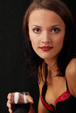 Young woman with wine Royalty Free Stock Photos