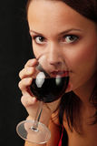 Young woman with wine Royalty Free Stock Image