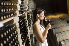 Young woman in the wine cellar Stock Photography