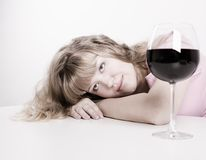 The young woman with wine glass Stock Photos