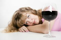 The young woman with wine glass Royalty Free Stock Photo